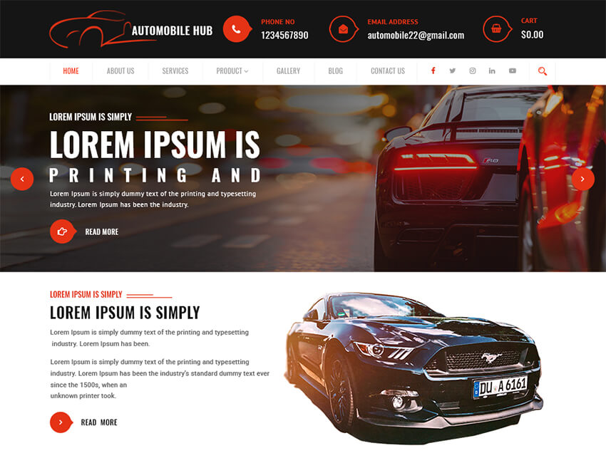 Automobile Hub - WordPress Theme