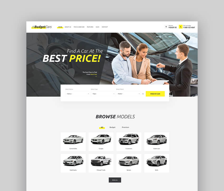 Budget Cars - Taxi And Car Dealership Theme