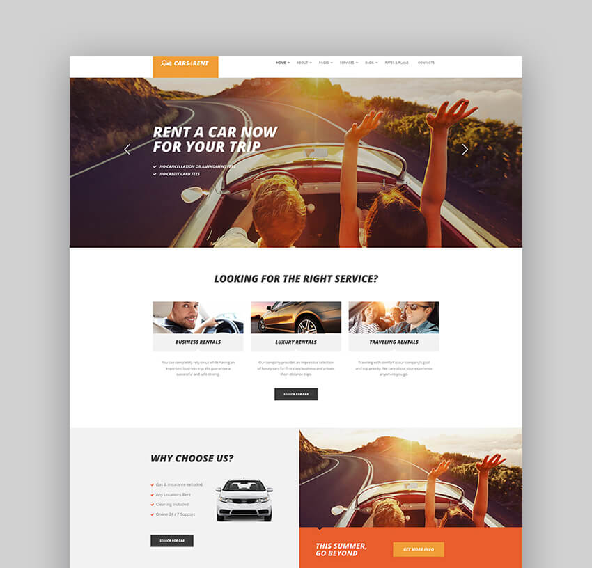 Cars4Rent Auto Rental Taxi Service WordPress Theme