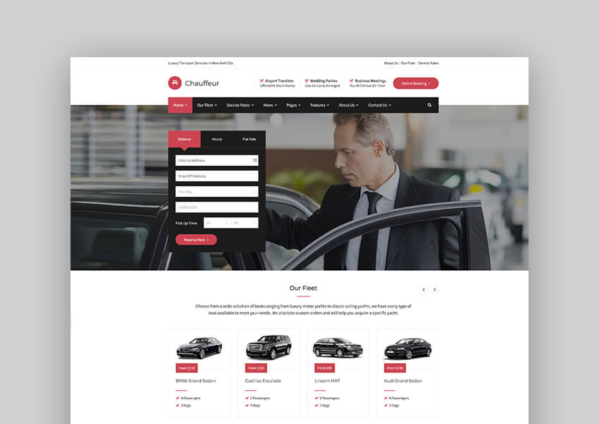 Chauffeur - Limousine Transport And Taxi Hire WP Theme