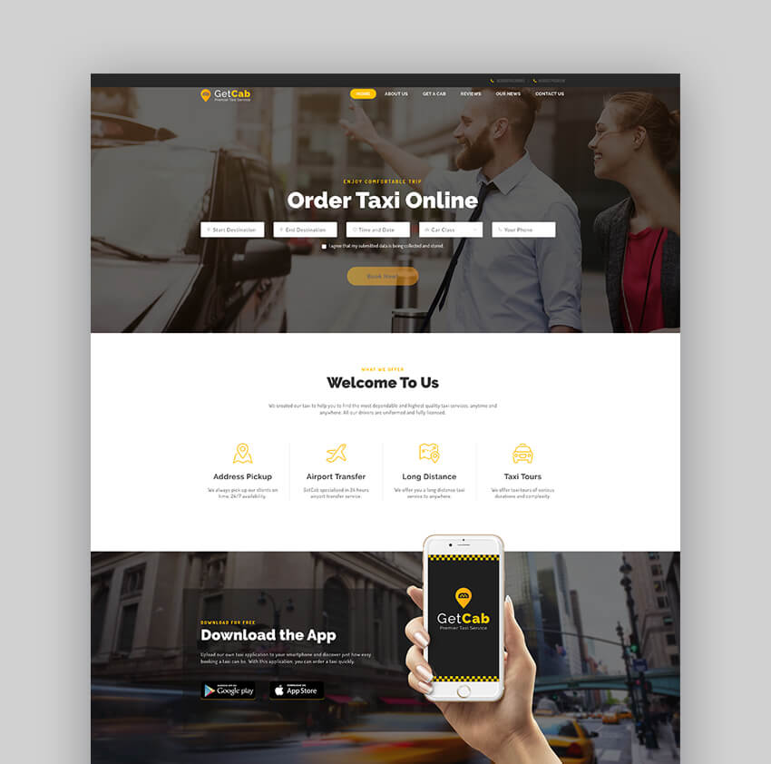 GetCab Online Taxi Service Template For WordPress
