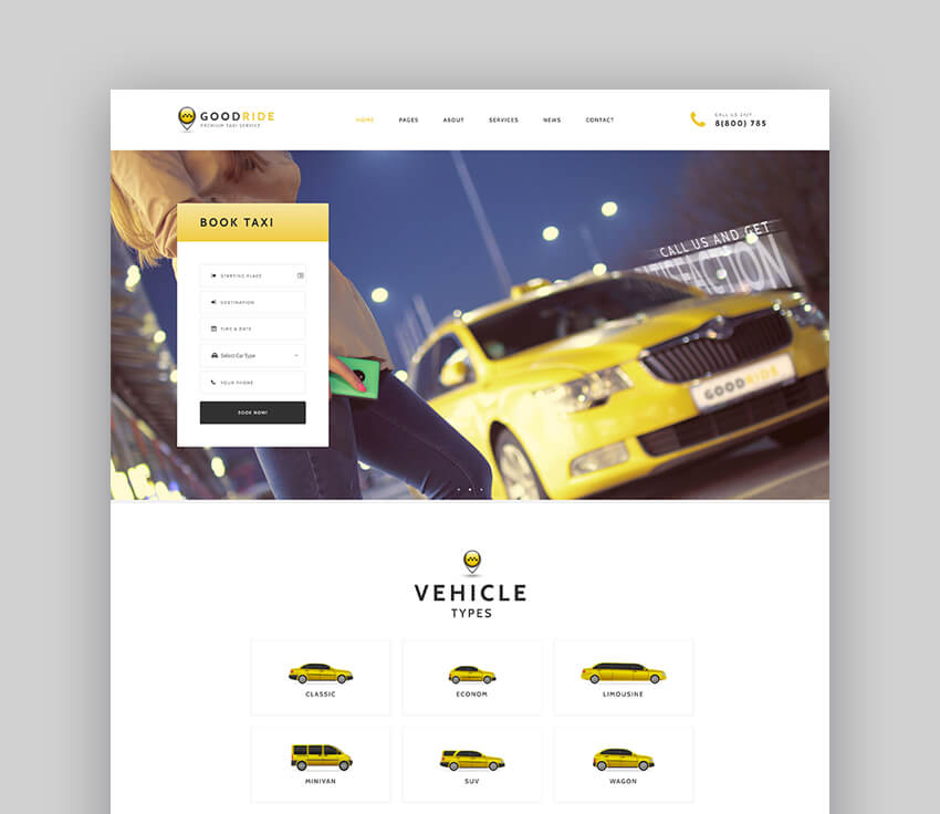 Good Ride - Taxi Company Cab Service WordPress Theme