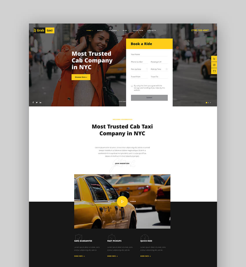 Grab Taxi Online Taxi Service WordPress Theme