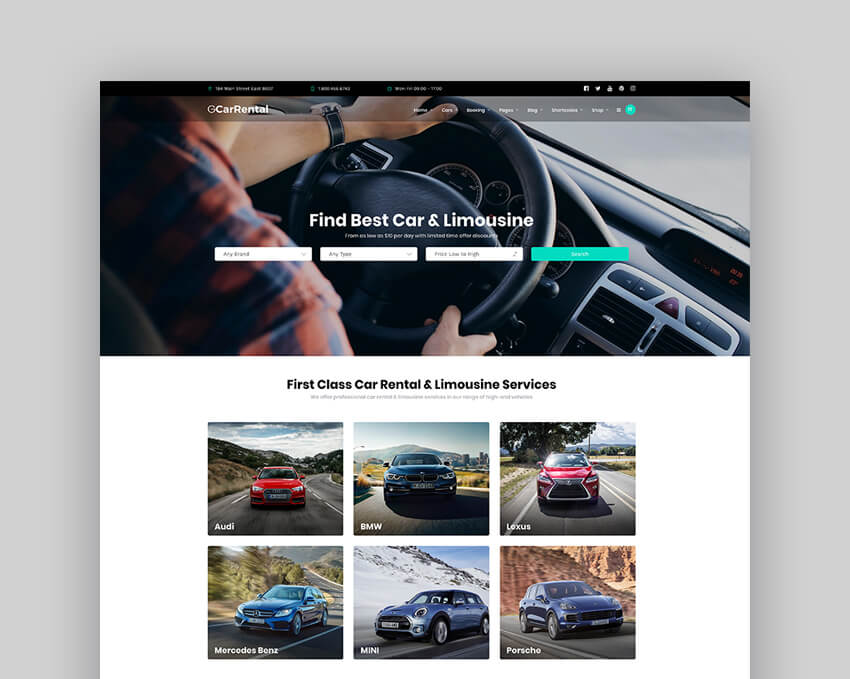 Grand Car Rental  Limousine And Taxi WordPress Theme