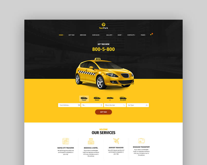 TaxiPark - Taxi Cab Service Company WordPress Theme
