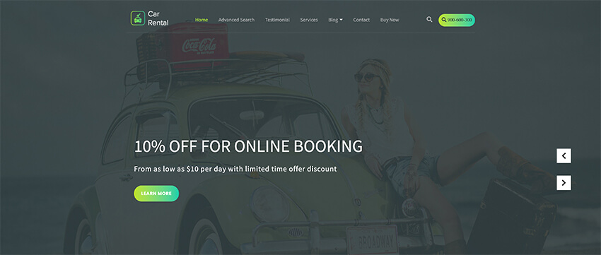 VW Car Rental - WordPress Theme Free Download
