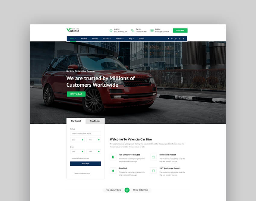 Valencia - Car Hire Taxi WordPress Theme