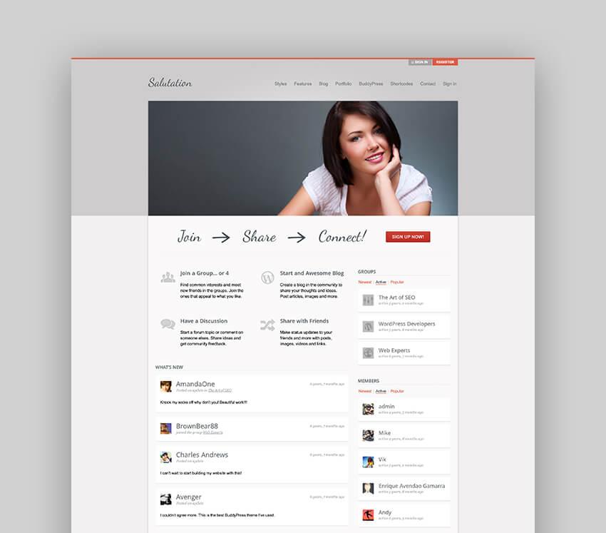Salutation - Forum WordPress Theme