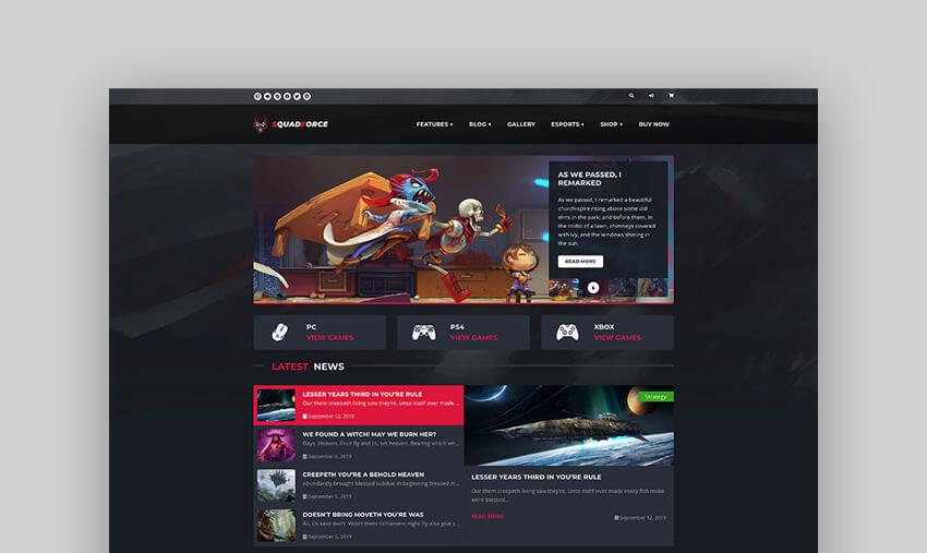 SquadForce - eSports Gaming WordPress Forum Theme