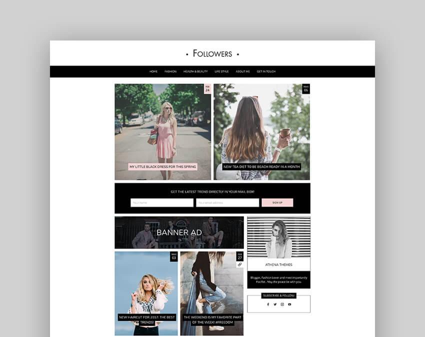 Followers - Fashion  Lifestyle WordPress Blog Theme for Social Media Influencers