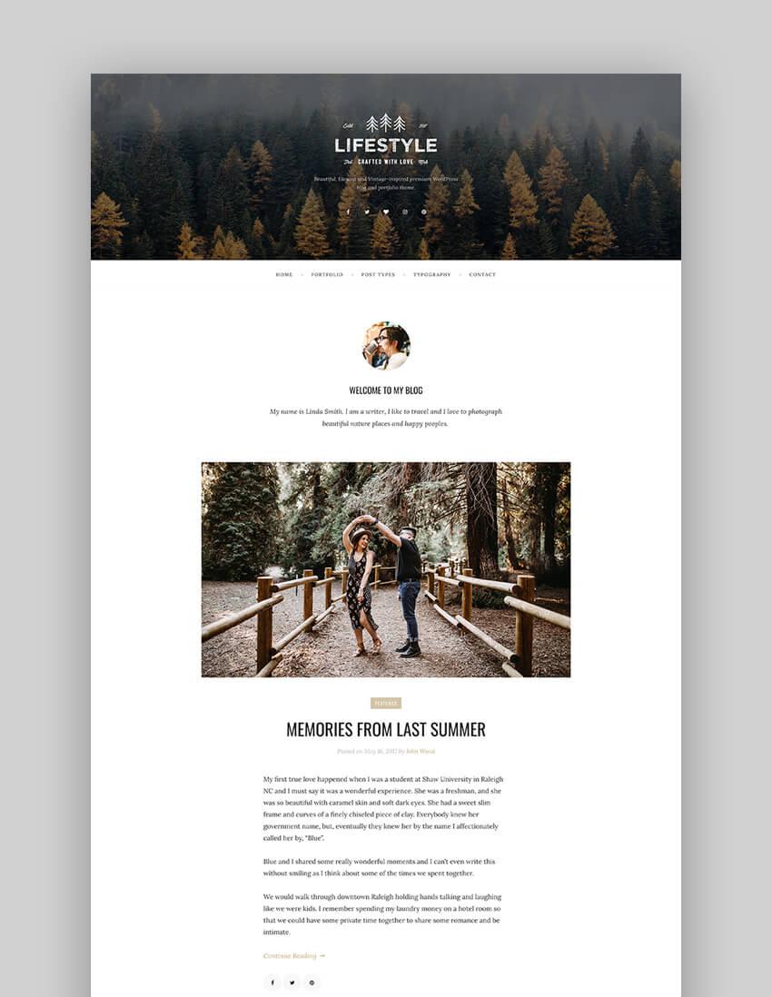 The Lifestyle - Vintage  Simple WordPress Blog Theme