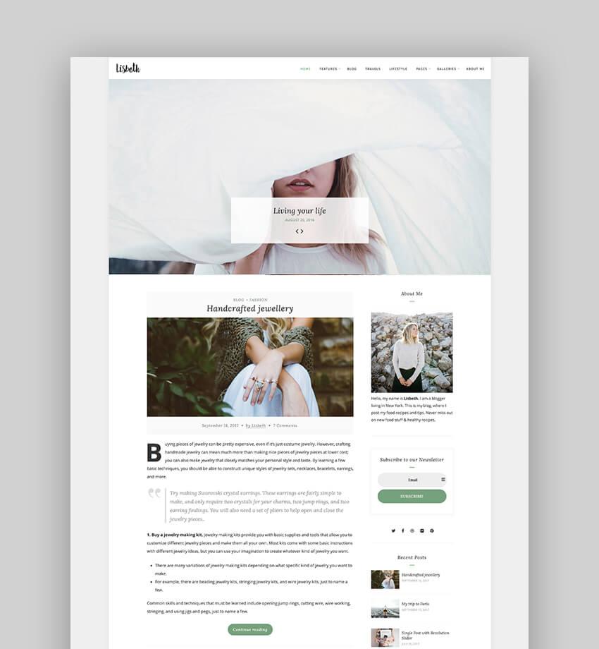Lisbeth - A Lifestyle Responsive WordPress Blog Theme