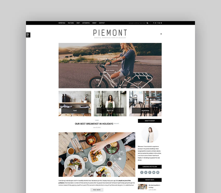 Piemont - Premium Travel  Lifestyle Responsive WordPress Blog Theme