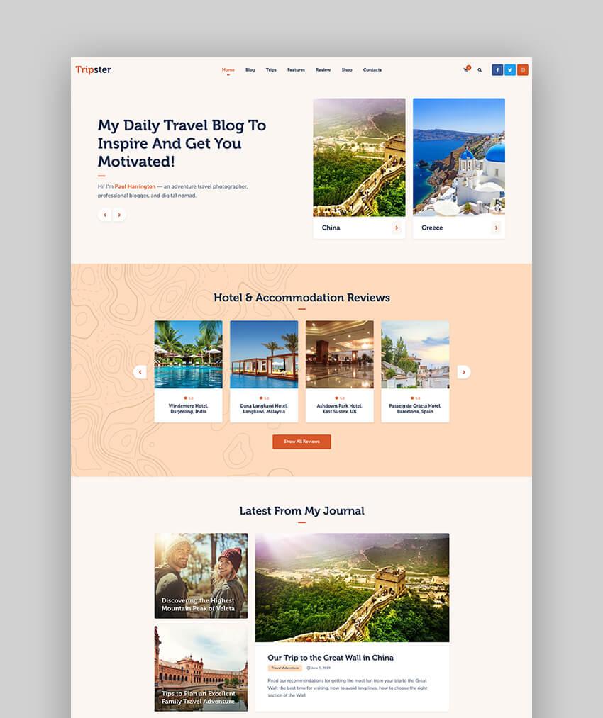 Tripster - Travel  Lifestyle WordPress Blog Theme