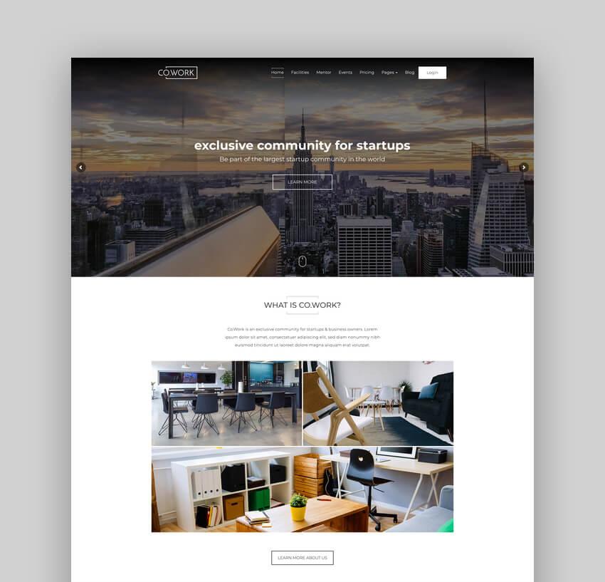 CoWork, Tema WordPress para oficina abierta y espacio creativo