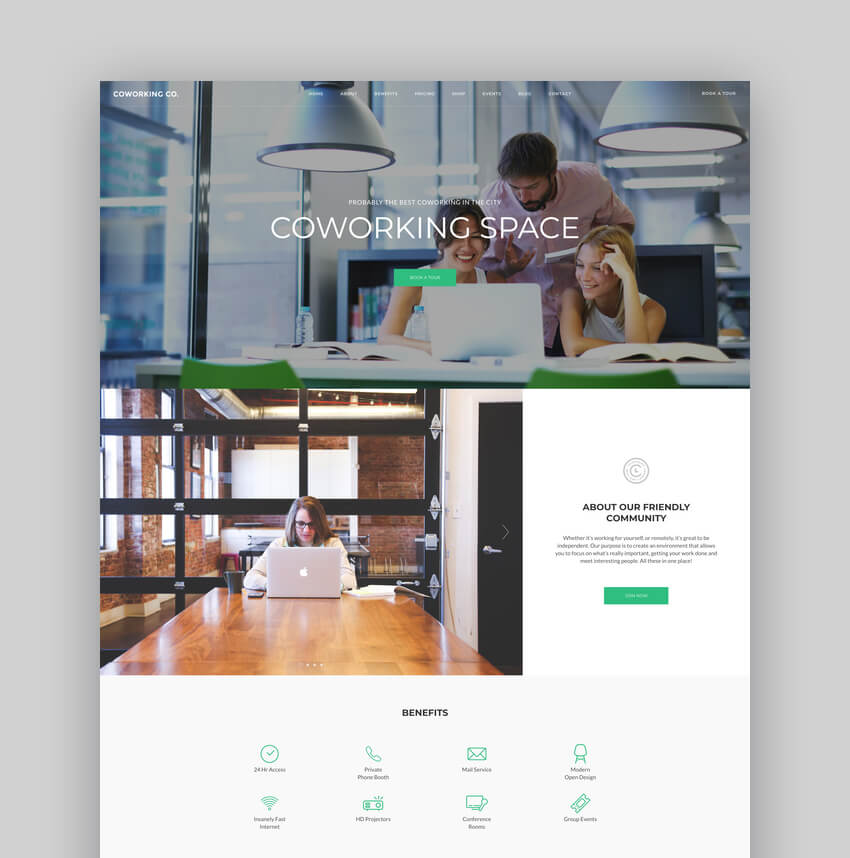 Coworking Co., Tema WordPress para espacio creativo