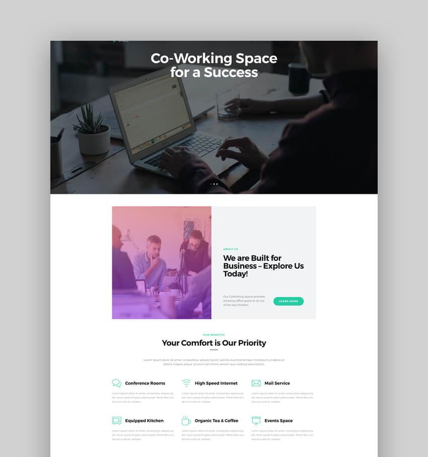 Coworking, Tema WordPress para oficina abierta y espacio creativo