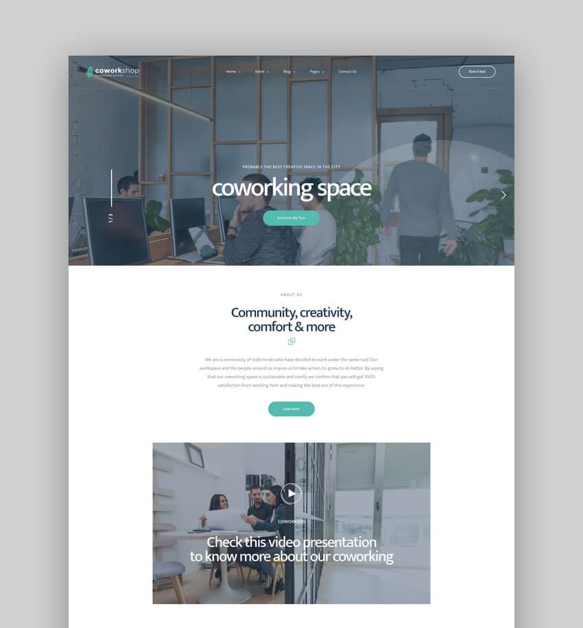 Coworkshop, Tema de WordPress para espacio de coworking