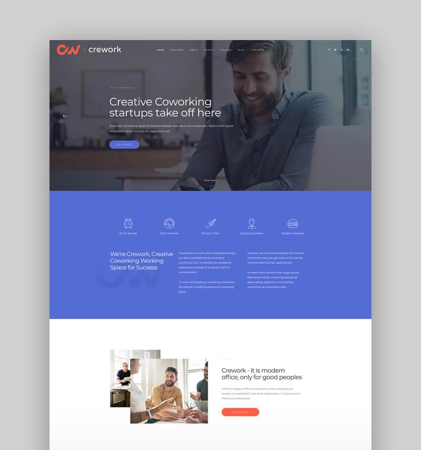 Crework, Tema WordPress para espacio de coworking y espacio creativo