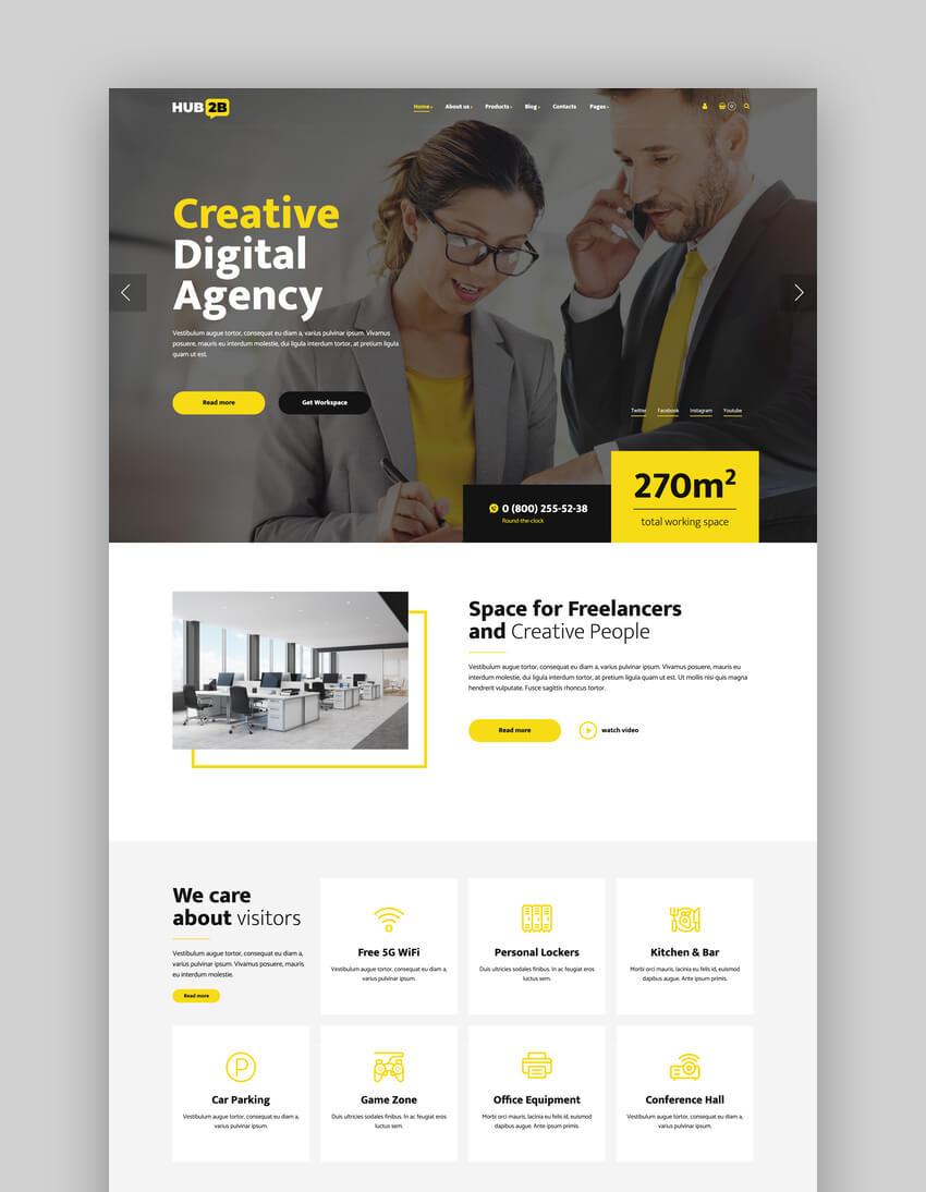 Hub2B, Tema de WordPress para espacio de coworking y agencia digital