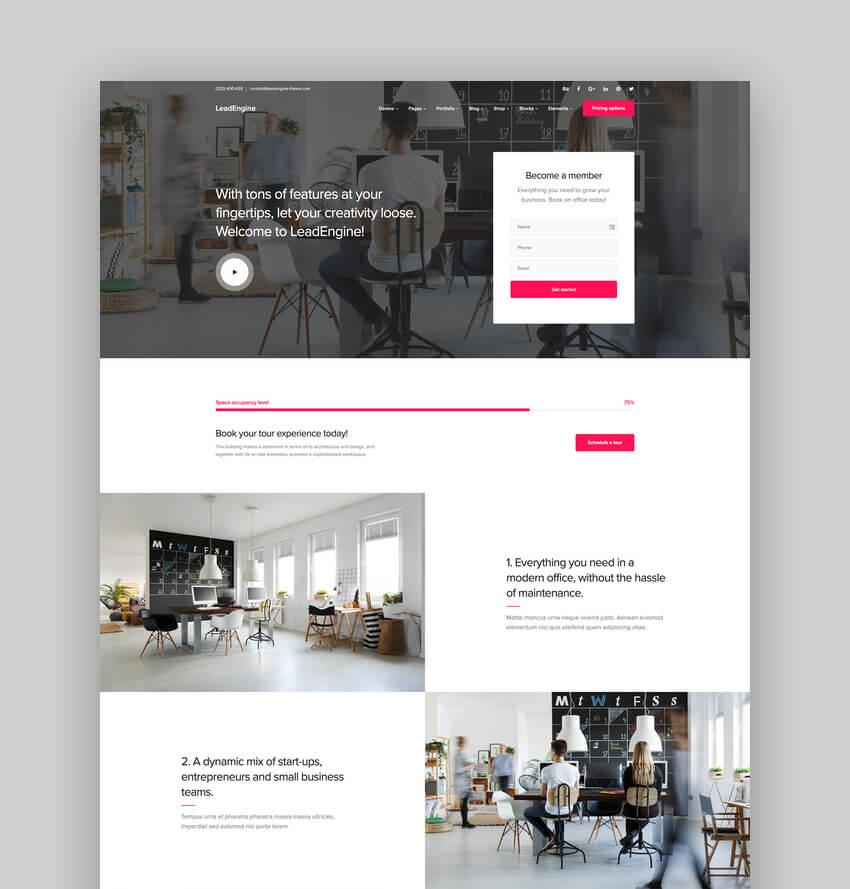 LeadEngine, Tema multipropósito de WordPress
