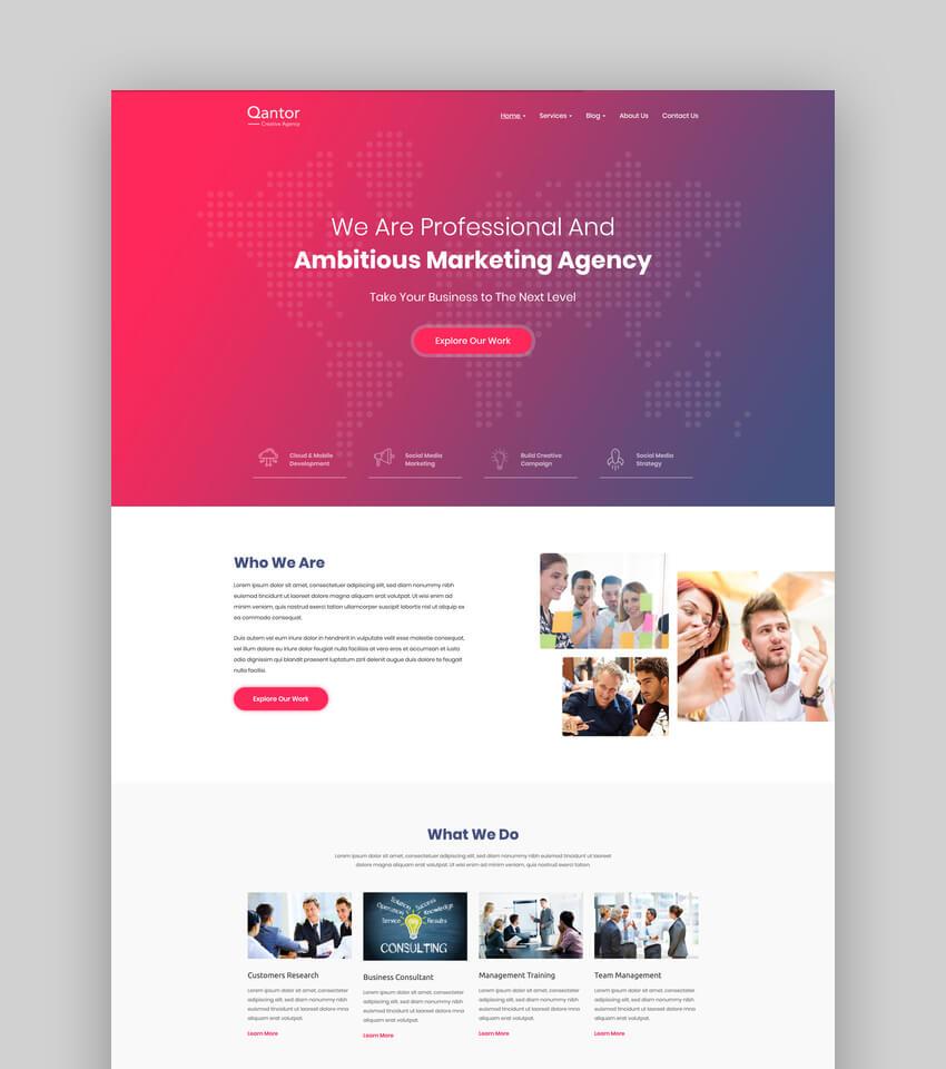 Qantor, Tema de WordPress para oficina de agencia creativa