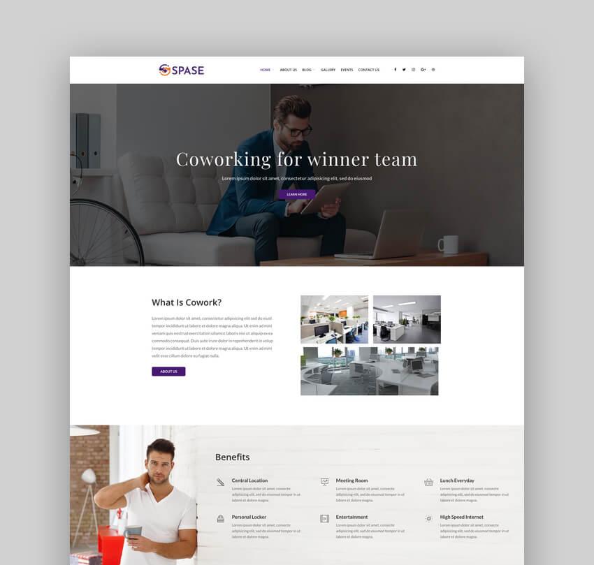 Spase, Tema de WordPress de negocios y coworking