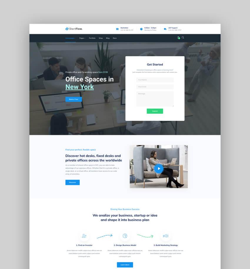 Start Flow, Tema de WordPress multipropósito para startup y creativos