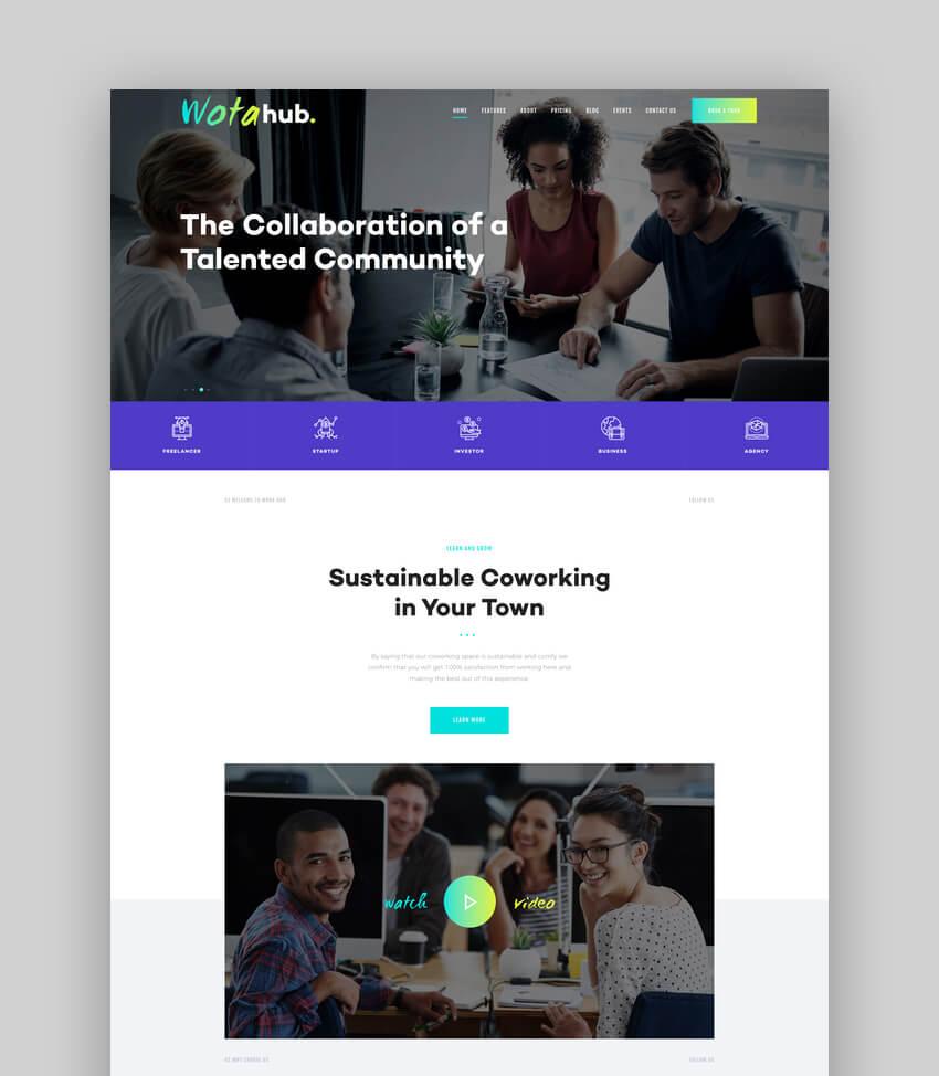 WotaHub, Tema de WordPress para espacio de coworking