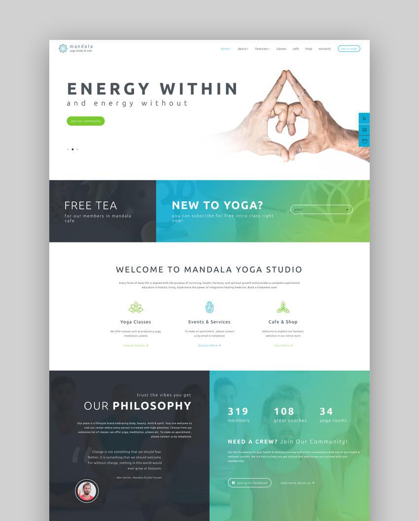 Mandala  Yoga Studio and Wellness Center WordPress Theme
