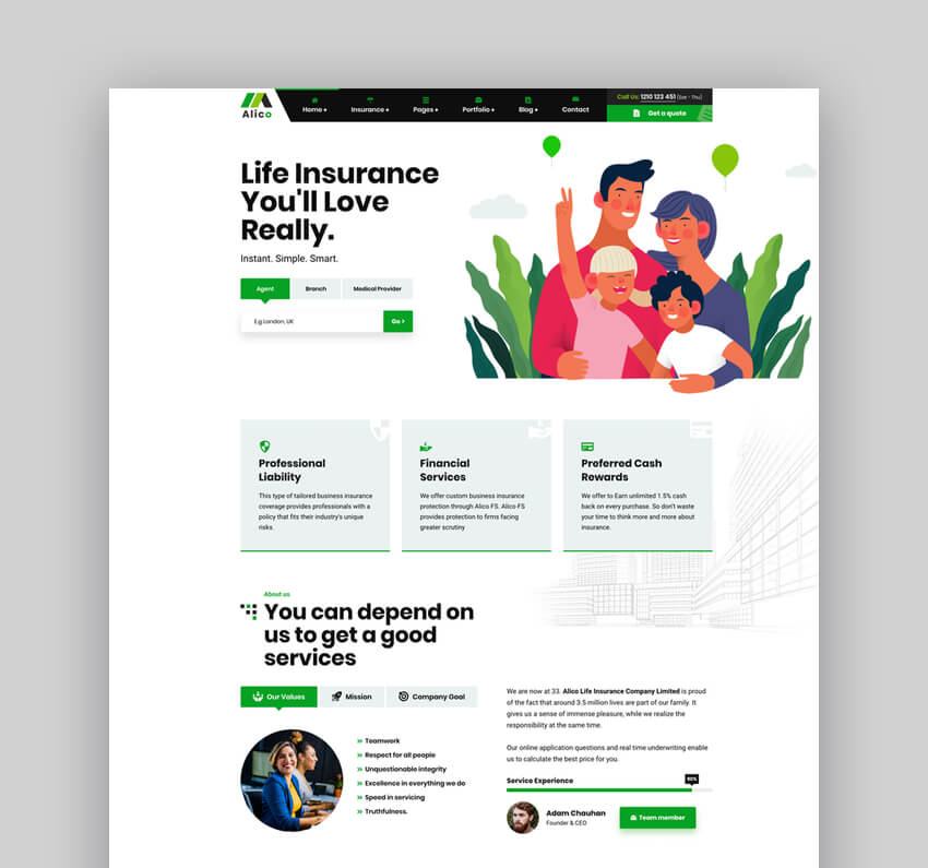 Alico - Insurance Agency WordPress Theme