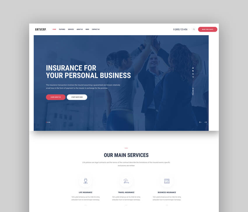 Antverp  An Insurance  Financial Advising WordPress Theme