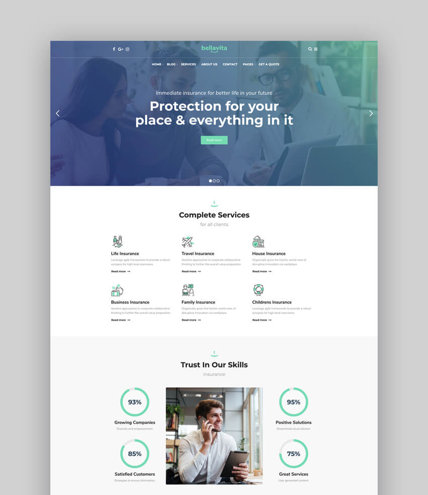 Bellavita - Insurance  Finance WordPress Theme