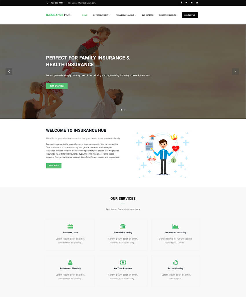 Insurance Hub - WordPress theme
