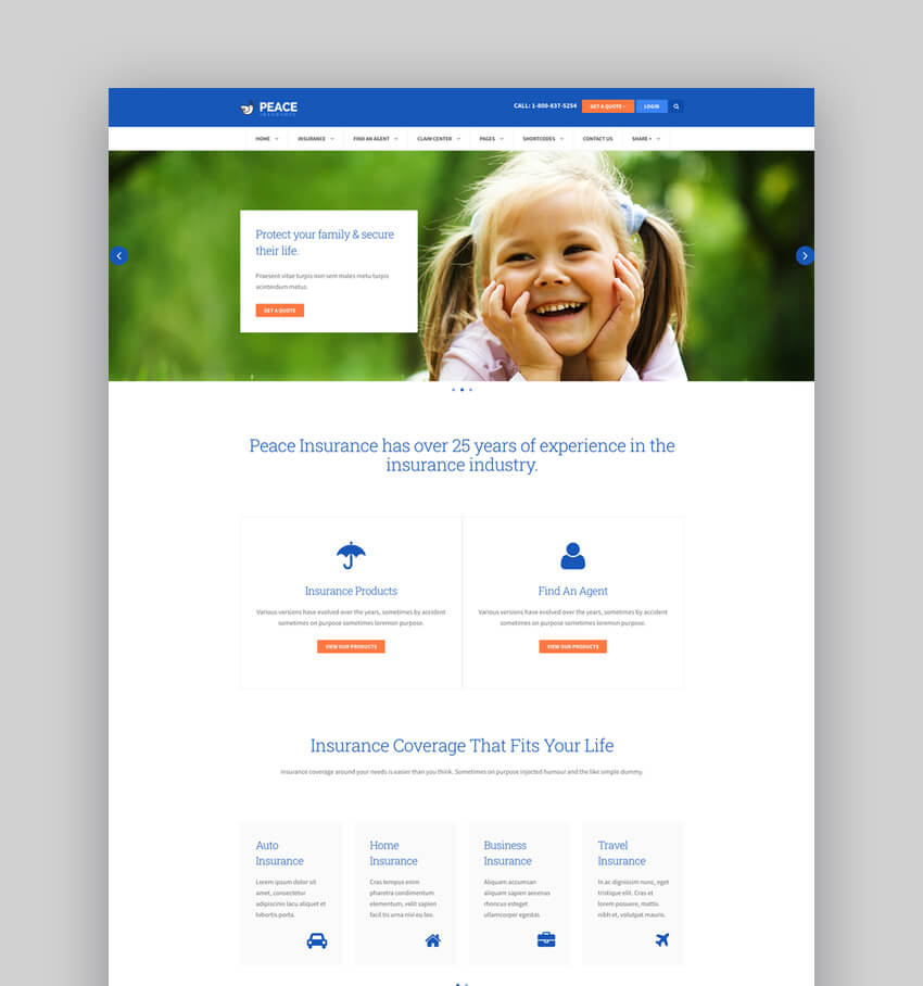 Peace  Insurance Agency WordPress Theme