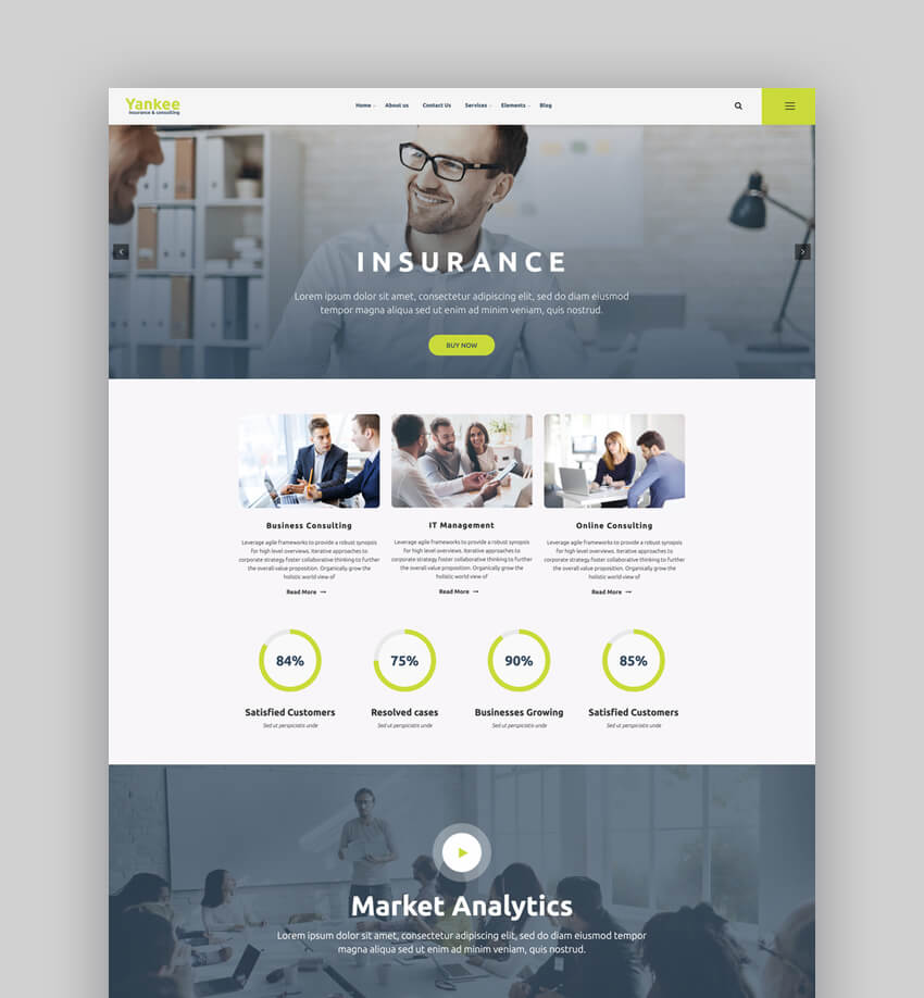 Yankee - Insurance  Consulting WordPress Theme