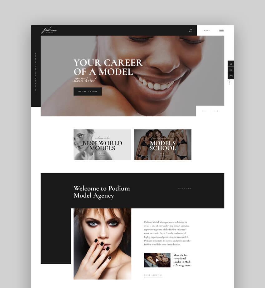Podium  Fashion Model Agency WordPress Theme