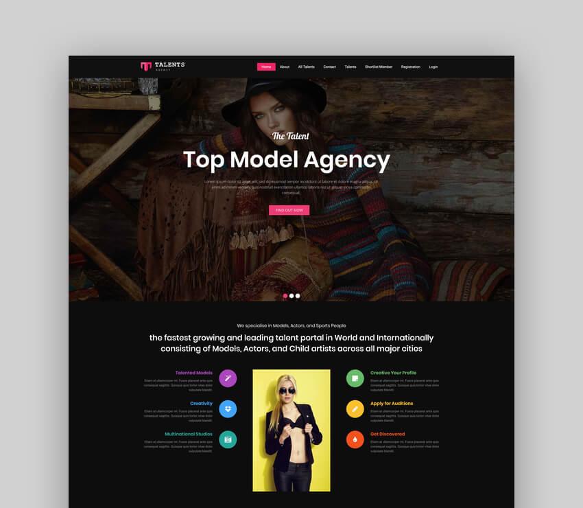 Talents - Model Agency WordPress CMS Theme