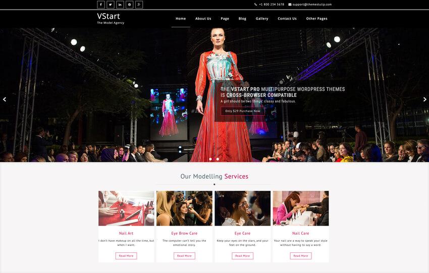 VStart - Free WordPress Theme For Models