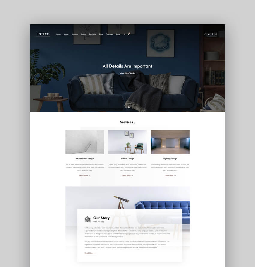 Inteco - Interior Design  Architecture WordPress Theme