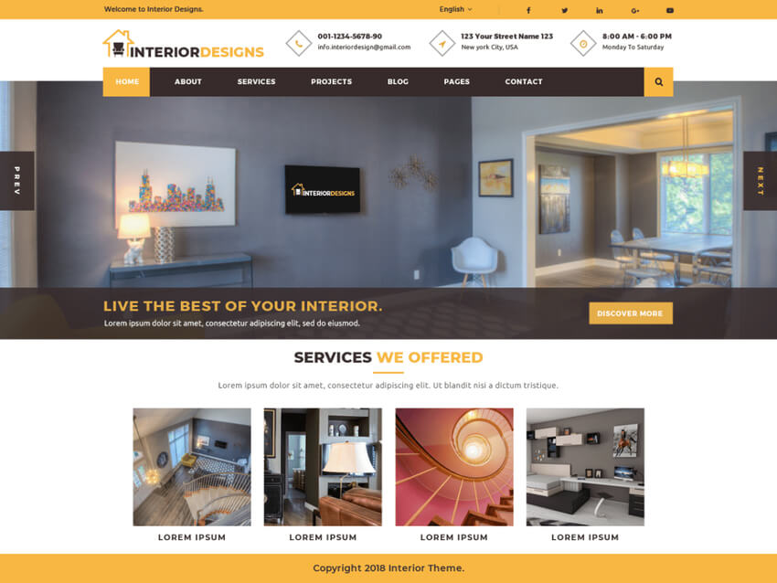 Interior Designs - Free WordPress Theme