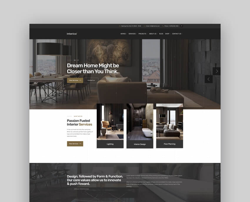 Interico - Interior Design  Architecture WordPress ThemeInterico - Interior Design  Architecture WordPress Theme