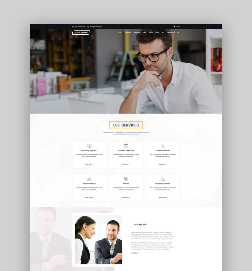 Accountant, plantilla web de contabilidad para WordPress