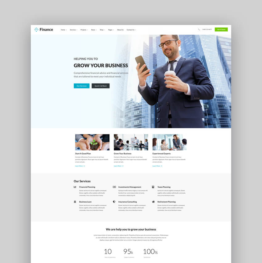 Finance - Business Financial Broker Consulting Accounting WordPress Theme