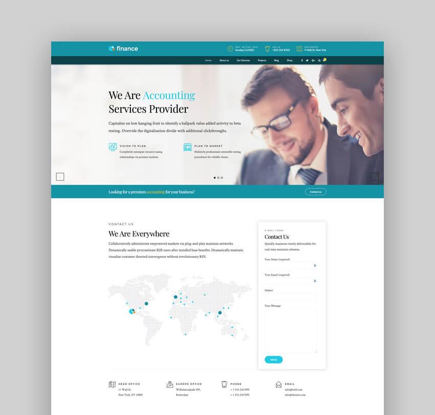 Finance, tema de contabilidad y consultoría para WordPress