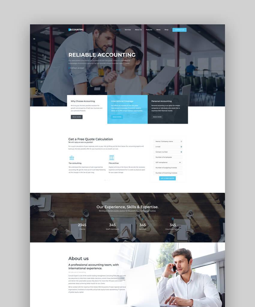 Accounting, tema de WordPress para negocios, consultoría y finanzas
