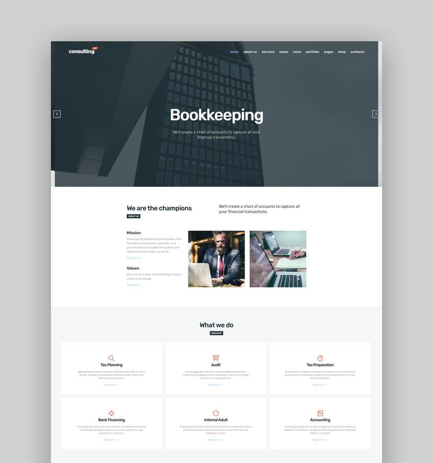 Consulting, tema WordPress de negocios y finanzas para sitios web de contabilidad