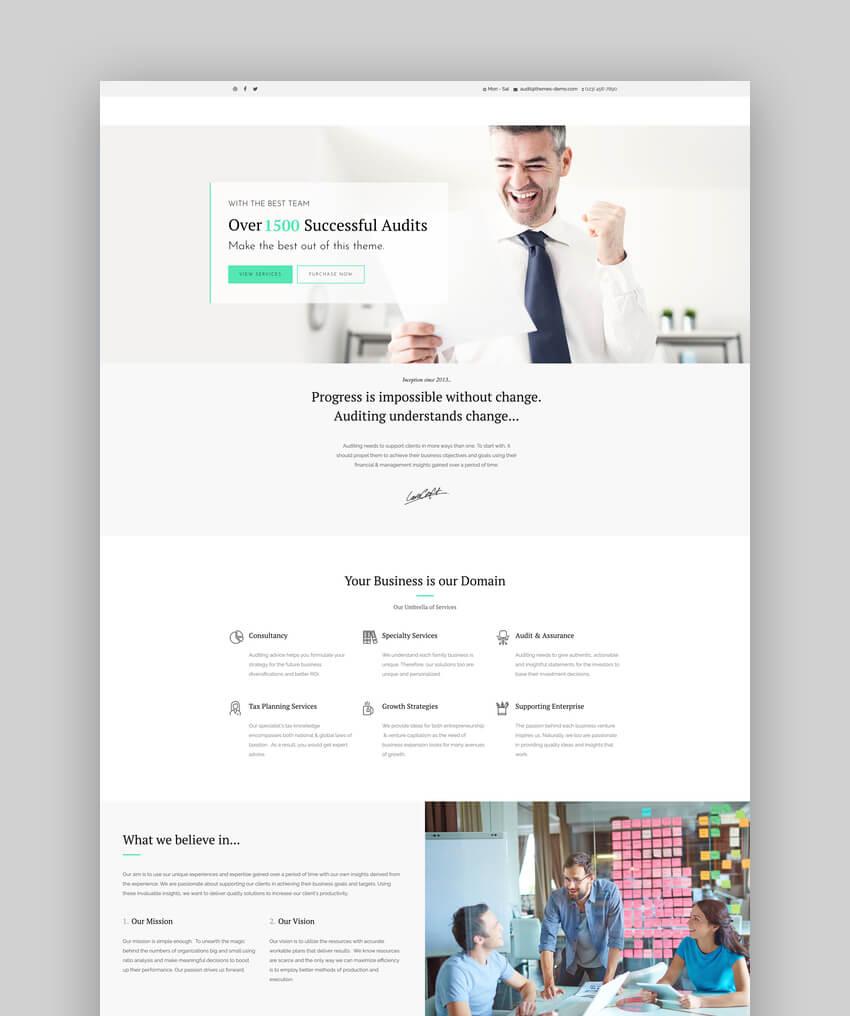 Auditing, tema de WordPress para consultor de contabilidad y finanzas