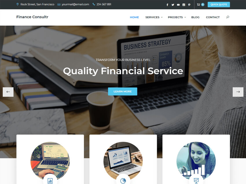 Finance Consultr - Free WordPress Theme