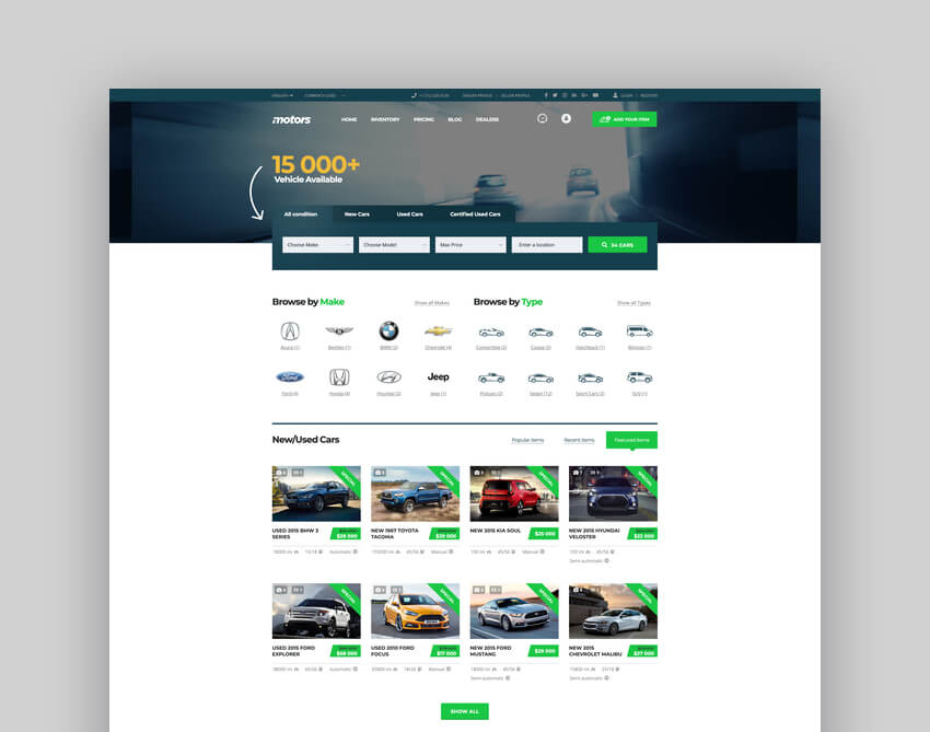 Motors - Car Dealer Rental  Classifieds WordPress Theme